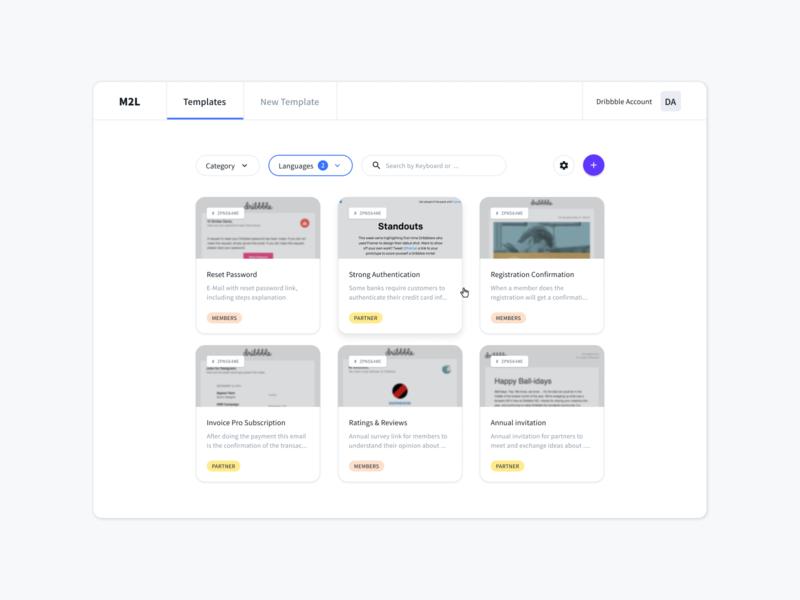 Overview Templates filters email grey desktop design templates cards card dashboard header navigation ux design classic ui minimal elegant