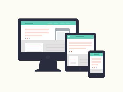 Responsive responsive webapp icon ui ux flat