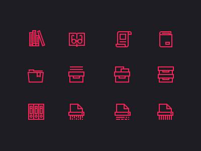 Mighticon icon psd glyphs visual retina icons document doc book paper box folder