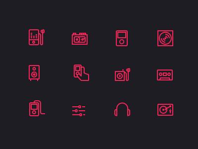 Mighticon  icons psd glyphs visual retina music audio disc cassette dj sound