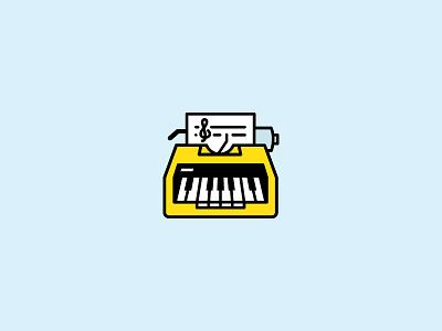 Songwriter icon music orange typewriter piano