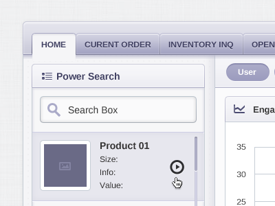 Dashboard Page ui button dashboard page search form power glyph icon table interface tab scroll