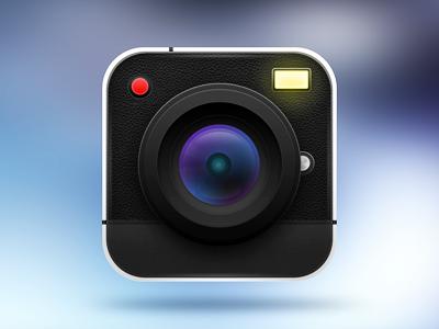 Cameshot camera icon app iphone ipad leather texture ui ux icon app flash old camera