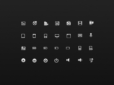 Icon Set 2 icon glyph set 16px pixel psd photoshop research image film camera ipad iphone ipod cassette mic play pause record shutdown browser tv playlist