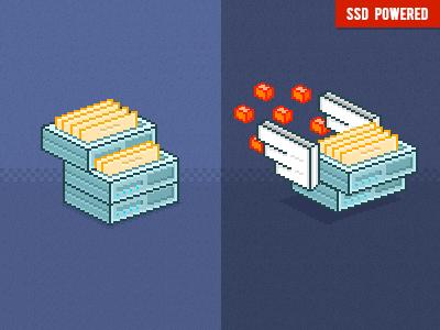 SSD SHARED pixelart 8bit interface ui server vps ssd style illustration icon pixel