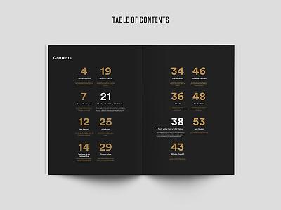 Raab Catalog - Table of Contents brochure magazine historical branding editorial print