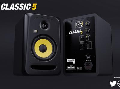 KRK Classic 5 Studio Monitor Speakers 3D product render