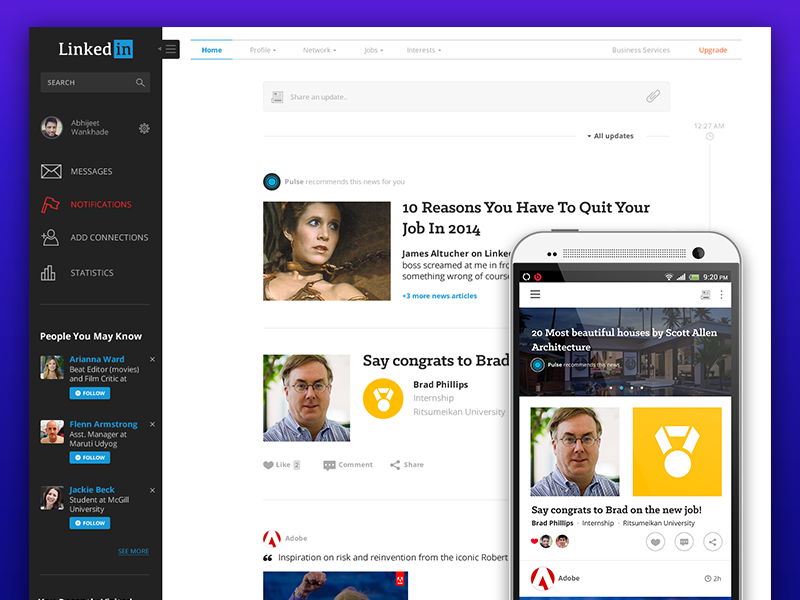 Linkedin re-design (web and android) linkedin redesign re design flat clean illustration web design 2014 trending android modern