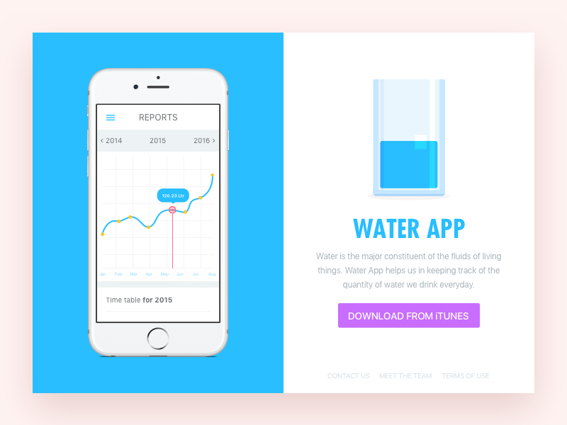 Water app - Above the fold download file free sketch graph ios iphone app water illustration challenges ui