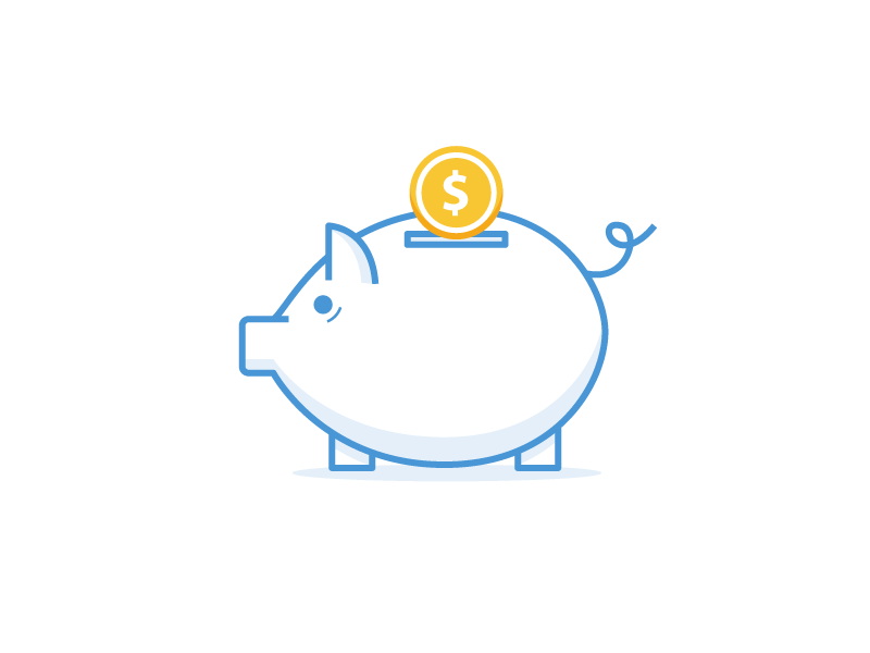 Hey Piggy lined icon illustration piggy bank piggy