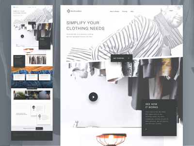 Clothing Landing Page shadow interface ux ui clothing landing page
