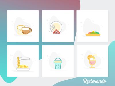 Restorando, Ilustraciones ui design ilustraciones icon set restorando food and drink