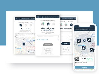 Car Services App - concept car service step by step cards design map ui form design ui design car app