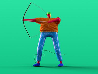 Archer artwork letter art aim outdoor sport character 3d 36days archer 36dayoftype