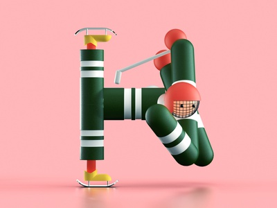 Letter H - 36 days of type cg render lettering hockey player pink arena sport characterdesign character 3d hockey letter