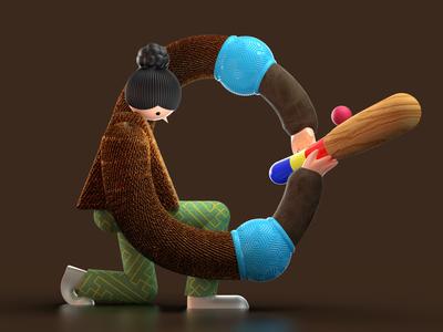 Letter O for 36 days of type illustration 3d illustration texture brown render modeling c4d redshift artwork design sports design character oina sport typogaphy letter