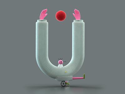 """Letter """"U"""" for 36 days of type 36daysoftype07 letter animation c4d illustration 3d illustration modelling redshift rendering 3d"""