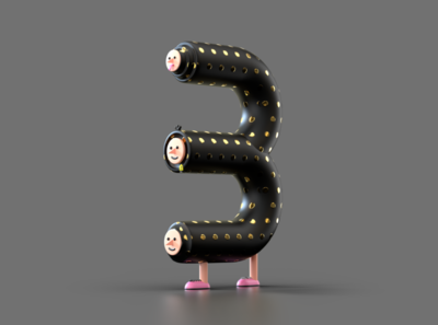 Number 3 - for 36 days of type 36daysoftype letter character 36daysoftype07 c4d redshift illustration 3d illustration 3d rendering