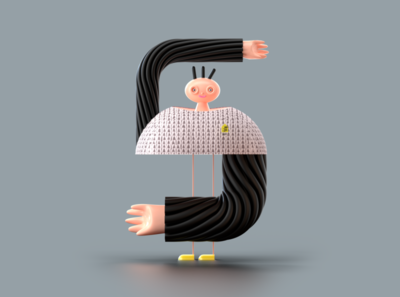 Number 5 for 36 days of type 3d modelling 36daysoftype 36daysoftype07 c4d character redshift 3d illustration rendering illustration