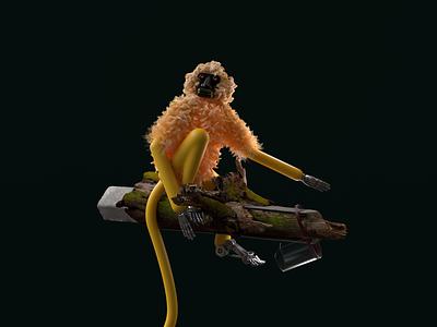 The forsaken prosthetic robot 3d redshift c4d character illustration modelling 3d illustration rendering monkey