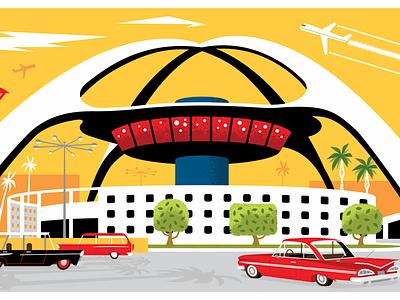 LAX cars airplane mid century design mid century mid century modern art vintage retro airplanes airport losangeles los angeles lax background design background image background art character art design illustration vector