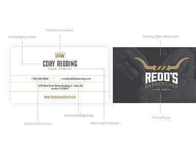 Redd's Barbershop Business Card 2color business card branding design