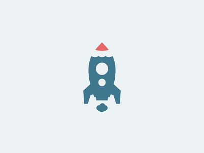Rocket Design pencil space creative rocket logo