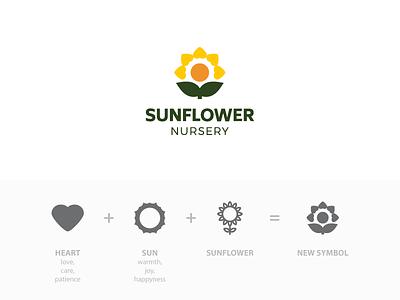 Sunflower Nursery Logo logo sunflower flower heart nursery