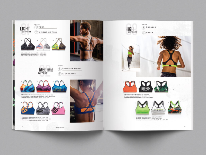 Reebok Rally Catalog Print Layout editorial catalog magazine magalog layout typography sports fashion lifestyle womens apparel