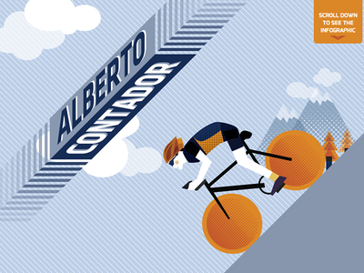 Contador´s Infographic cyclist contador saxo bank mountain blue retro info infographic flat cycle tour