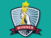 Winner badge  badge hand prize award
