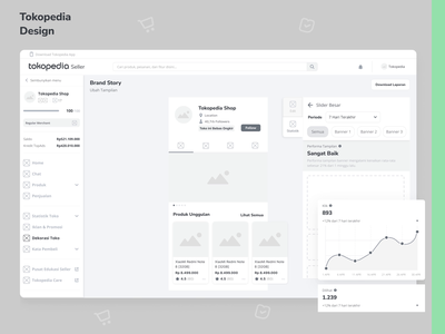 Tokopedia - Shop Page Analytic exploration desktop dashboard web web design ui design wireframe animation ux analytic chart admin ecommerce marketplace ui uiux