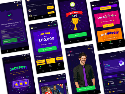 Loco - Interactive Game Show of India winner jackpot ux ui answer questions visual design quiz languages india money prize knowledge players app show game interactive