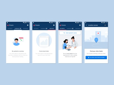 Simple | Illustrations simple hospital tracking blood pressure reports call overdue location patient nurse illustration