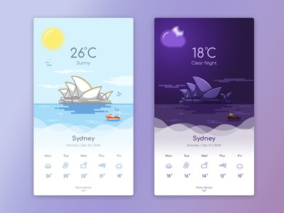 Weather App Landing Page illustration mobile colors icons ux ui clear night sunny sydney app weather