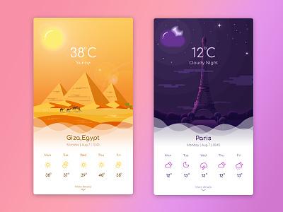 Weather App Landing Page - 2 mobile sunny cloud moon sun illustration icon app weather egypt giza paris