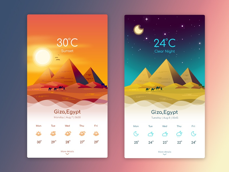 Weather App - Giza Sunset & Night egypt weather icon mobile illustration moon sun pyramid night sunset giza app