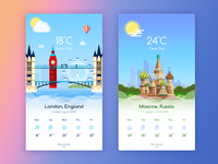 Weather App - Moscow & London bigben skyline clouds mobile illustration ui icons app sunny weather london moscow