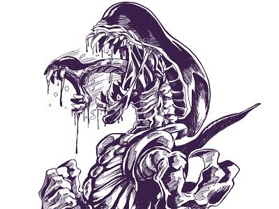 Day 6 Inktober 2018 drooling digital alien xenomorph illustration inktober2018 inktober
