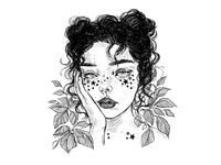 Post Inktober Mood scribble leaves girl stars inks illustration inktober2018 inktober