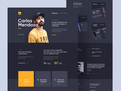 Carlos - Personal Portfolio Website designer developer services service personal portfolio personal portfolio yellow black dark clean card user interfaces simple landing page design homepage website ux ui