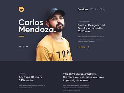Carlos - Personal Portfolio Website designer developer services service personal portfolio personal portfolio yellow black dark clean card user interfaces simple landing page design homepage website ux ui