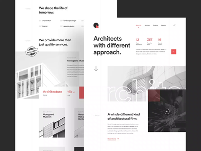 Reflex - Architect Landing Page museum consultancy interior art propeties architectural building thinkers engineers designs architecture architect clean simple landing page design homepage website ux ui
