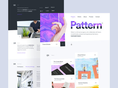 Pattern - Creative Agency Website portfolio product brand teams services creative studio agency client projects clean card gradient simple landing page design homepage website ux ui