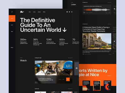 Nice Media - Landing Page orange trend motion dark world read gallery photo article podcast listen watch news media landing page design homepage website ux ui