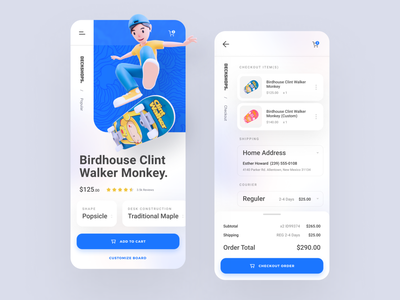 Deckshop - Skateboard Mobile App shop custom mobile app card shopper buy 3d shopping modelling blender skate ecommerce checkout cart shopping cart order shipping shipment mobile app