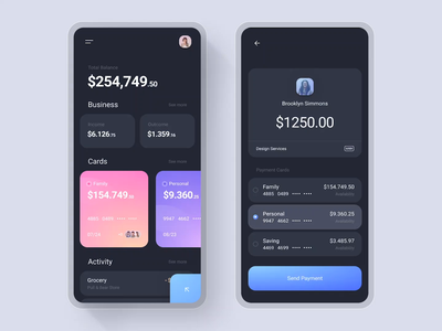 Paypay - Money Management App money app design ux ui card gradient app manage bank credit card send payment contact balance business motion interaction income activity outcome