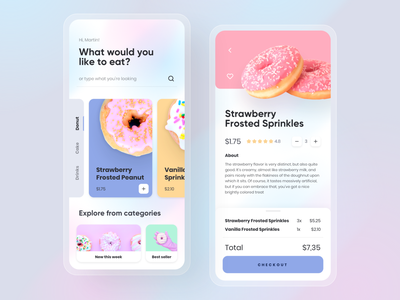 Doonut - Food Order App clean colorful userinterface ux ui simple shopping cake shop shipping order mobile drinks donut design checkout cartoon card cake blur app