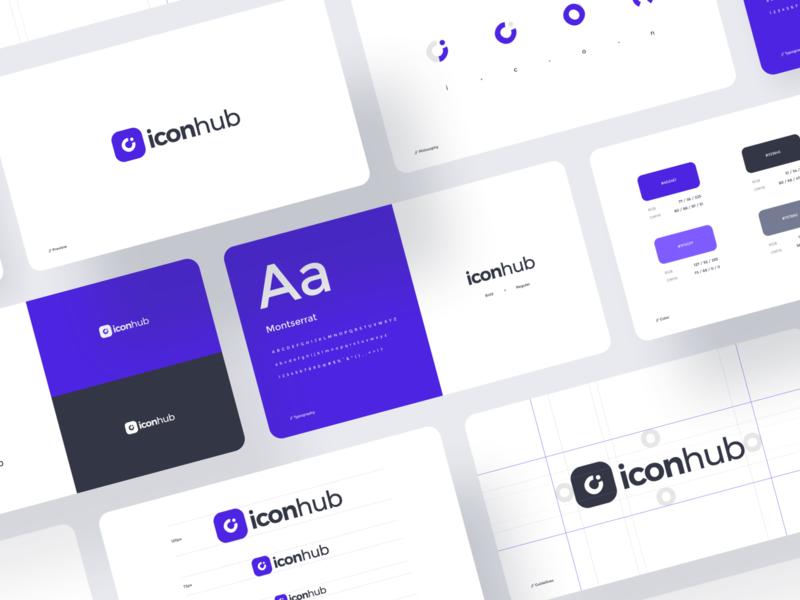 Iconhub Brand Guideline icon logogram grid layout layout grid mockup card logo design logotype color brand guides brand identity brand guideline brand purple typography simple branding logo design