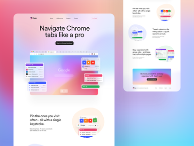 Dash Landing Page parallax prototype motion animation browser colorful chrome extension chrome plugin clean gradient user interfaces card landing page simple homepage design website ux ui